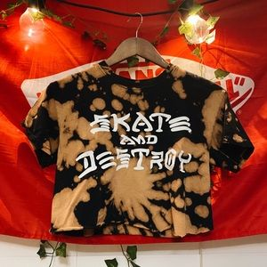 cropped skate & destroy bleach dyed thrasher shirt